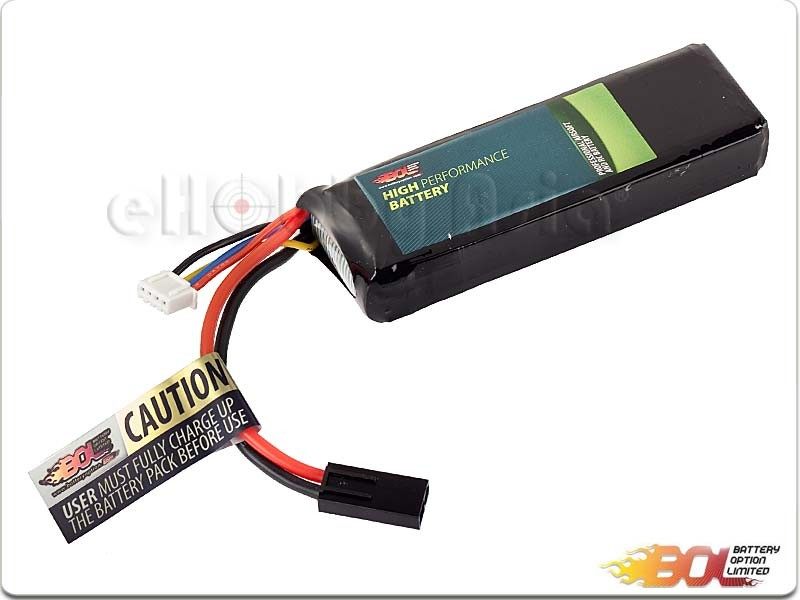 BOL 11.1V 1600mAh 30C Lipo (Candy Bar Pack)