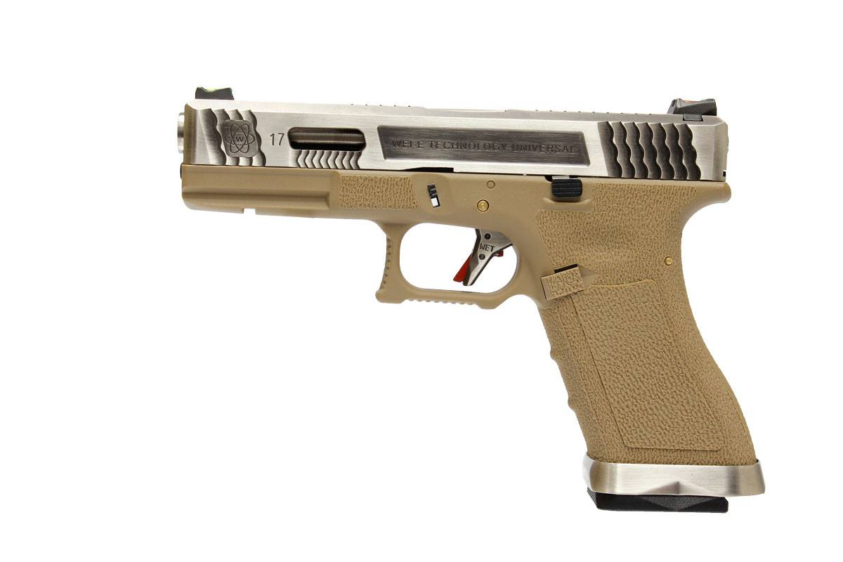 WE Glock 17 - T8 (Silver Slide, Silver Barrel, Tan Frame)
